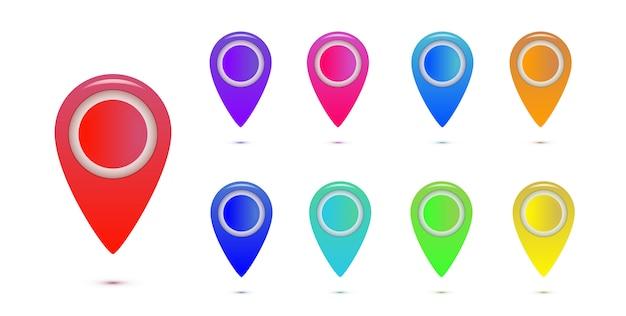 Conjunto de marcadores de mapa colorido