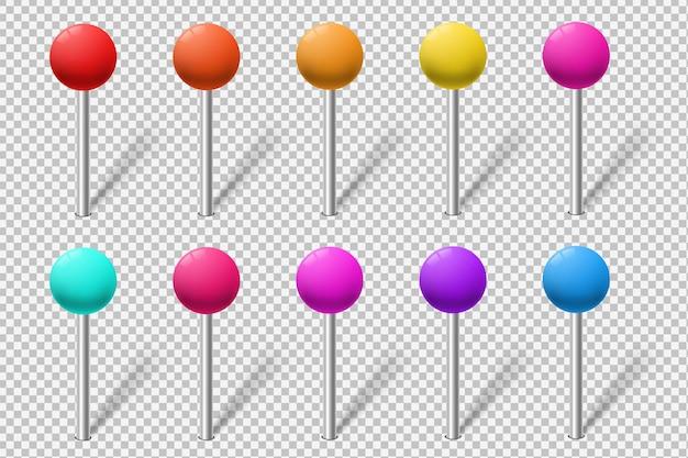 Conjunto de marcadores de mapa coloridos