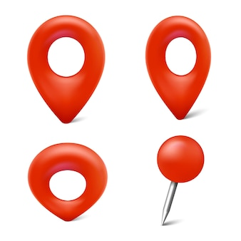 Conjunto de marcadores de mapa, ícones de pinos de mapa, ponteiros de vetor 3d para localização geográfica isolada no fundo branco