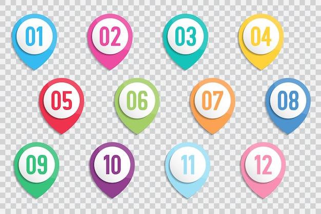 Conjunto de marcadores de pontos de marcador de número 1 a 12 com sombra