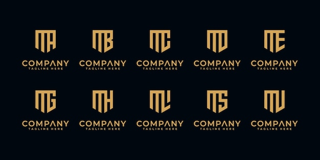 Conjunto de marcas de letras simples e sólidas para a letra m