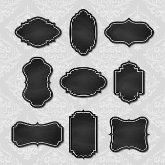 Conjunto de marcas de lousa vintage.