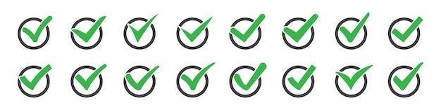 Conjunto de marcas de seleção ou ícones de tique-taques