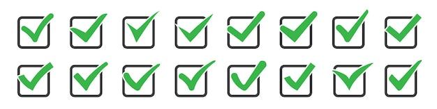 Conjunto de marcas de seleção ou tiques nas caixas
