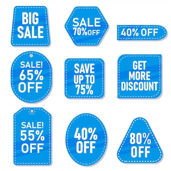 Conjunto de marcas de venda azul, etiqueta e adesivos com descontos diferentes