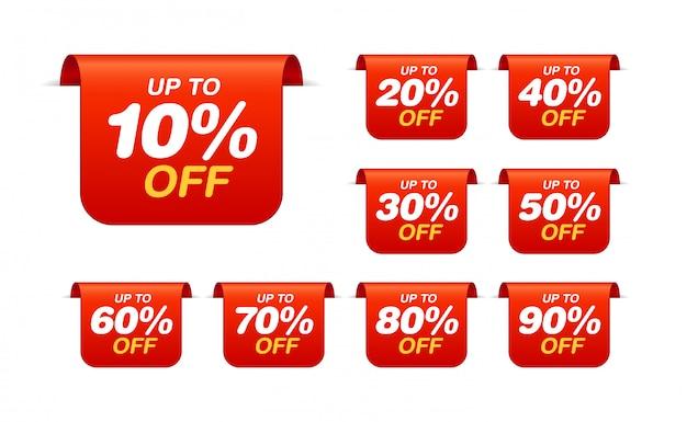 Conjunto de marcas de venda. conjunto de adesivos de desconto de marcador