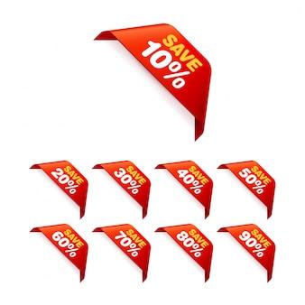Conjunto de marcas de venda. pacote de adesivos com desconto