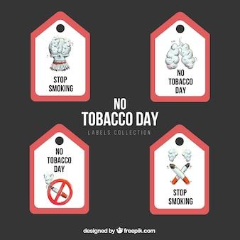 Conjunto de marcas desenhadas à mão dia anti-tabaco