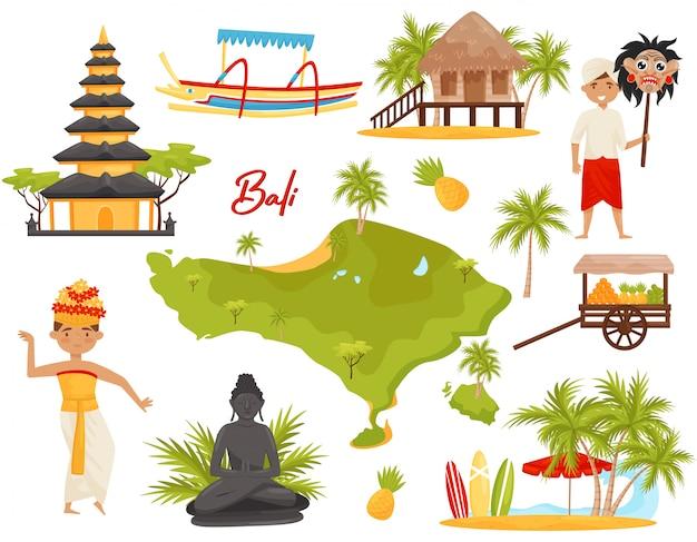 Conjunto de marcos de bali e objetos culturais. pessoas, monumentos históricos, mapa da ilha de bali