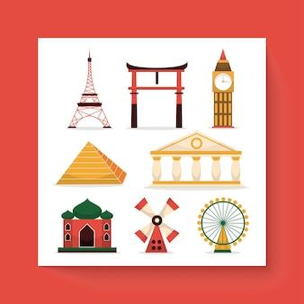 Conjunto de marcos e edifícios famosos em todo o mundo