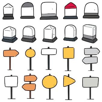 Conjunto de marcos e postagem de direção