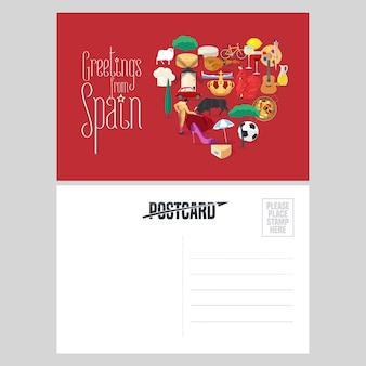 Conjunto de marcos espanhóis, cultura, música e comida cartão postal