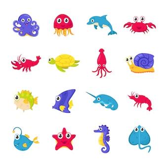 Conjunto de marinhos coloridos fofos e animais do oceano, peixes.