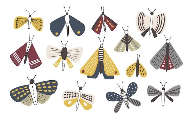 Conjunto de mariposas doodle de cor escura, isolado no branco
