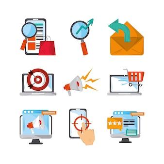 Conjunto de marketing na web