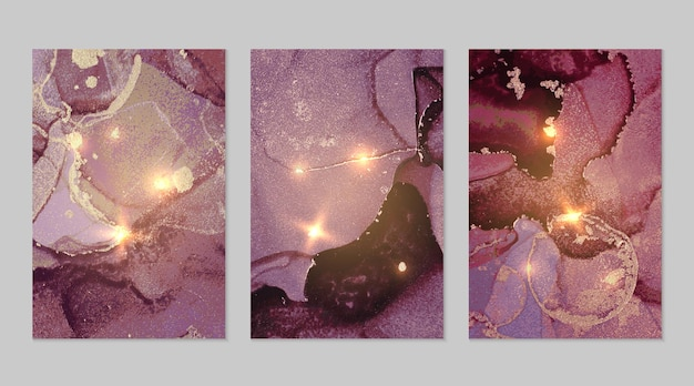 Conjunto de mármore com fundos abstratos roxos e dourados com glitter na técnica de tinta a álcool