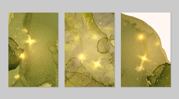 Conjunto de mármore de fundos abstratos amarelos verdes e dourados com glitter na técnica de tinta de álcool