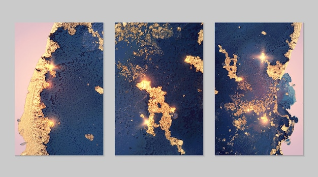 Conjunto de mármore de fundos abstratos de jeans azul e dourado com glitter na técnica de tinta a álcool