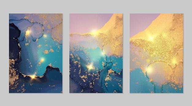 Conjunto de mármore de fundos abstratos em azul escuro e dourado com glitter em técnica de tinta a álcool