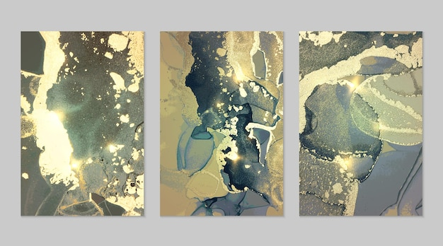 Conjunto de mármore de fundos abstratos verdes, turquesas e dourados com glitter na técnica de tinta a álcool
