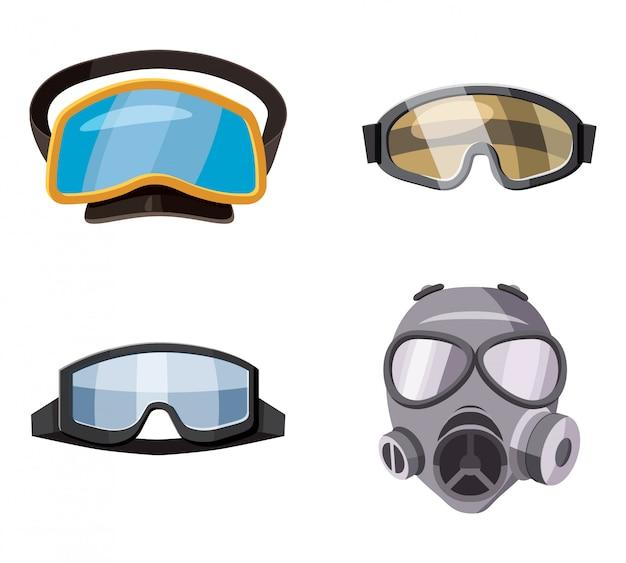 Conjunto de máscara. caricatura, jogo, de, máscara