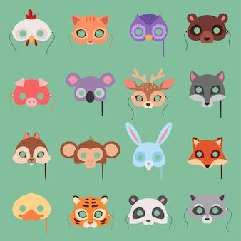 Conjunto de máscara de animais carnaval infantil decoração de festival fantasia de festa de máscaras