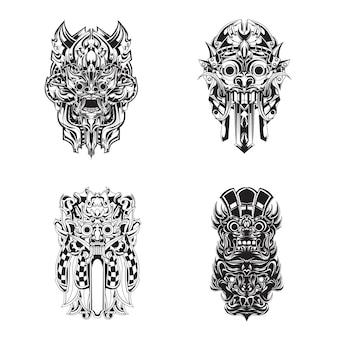Conjunto de máscara de barong da cultura balinesa