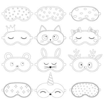 Conjunto de máscara de dormir com um padrão, contorno preto, ilustração vetorial isolada.