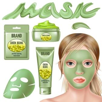 Conjunto de máscara de feijão verde e esfrega para o rosto.