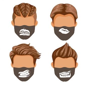 Conjunto de máscara de moda. coleção de boca ou lábios. moda masculina padrão de impressão preto e branco em tecido.