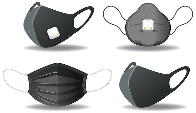 Conjunto de máscara de proteção preta