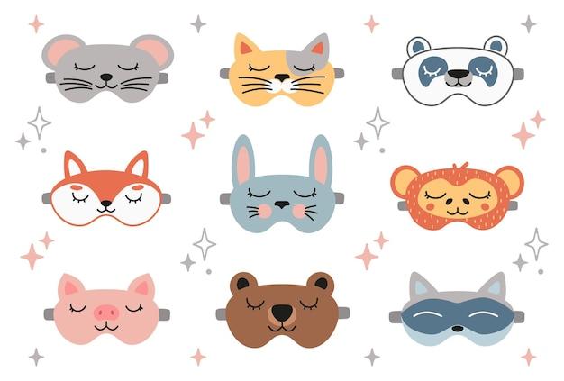 Conjunto de máscara de sono animal panda coelho gato coelho rato