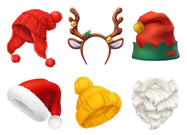 Conjunto de máscara e chapéu de natal