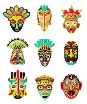 Conjunto de máscara étnica, africana, mexicana colorida, elemento ritual