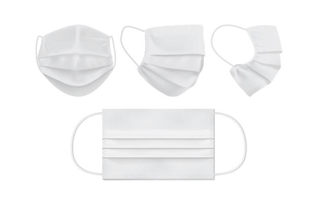 Conjunto de máscara facial branca isolada no branco Vetor Premium