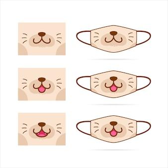 Conjunto de máscara facial com ilustração de rosto bonito gato marrom cachorro animal de estimação boca