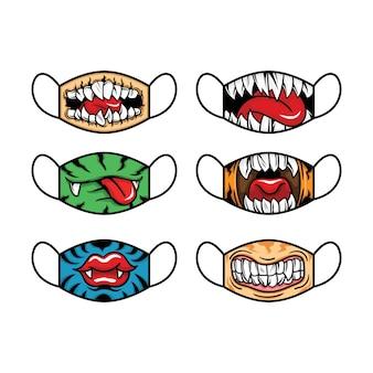 Conjunto de máscara facial de tecido. conceito de boca e língua. ilustração vetorial.