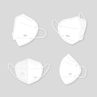 Conjunto de máscara facial em diferentes perspectivas