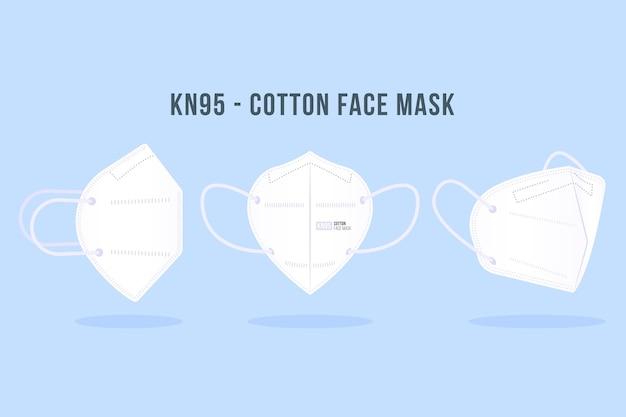 Conjunto de máscara facial kn95 em diferentes perspectivas