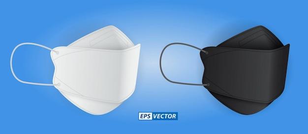 Conjunto de máscara médica realista bico de pato ou máscara cirúrgica de três camadas nas cores branca e preta
