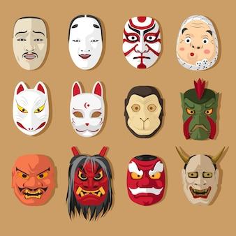 Conjunto de máscara tradicional japonesa
