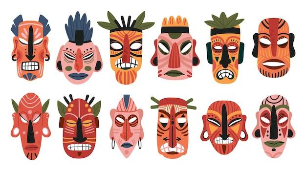 Conjunto de máscara tribal de totem de madeira africana máscara tiki rosto aborígine escultura étnica de madeira