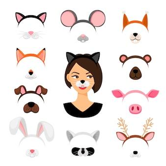 Conjunto de máscaras de animais de meninas
