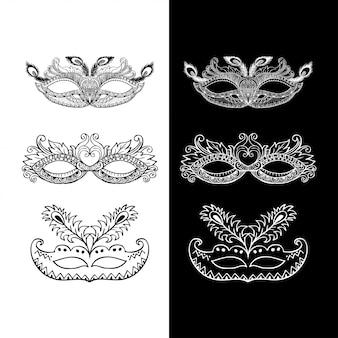 Conjunto de máscaras de carnaval doodle