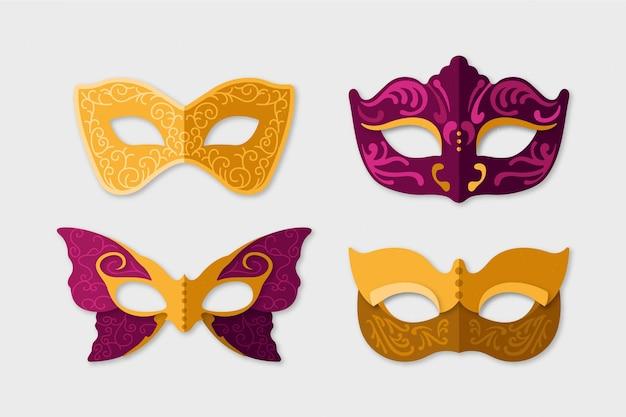 Conjunto de máscaras de carnaval veneziano 2d