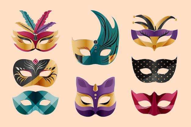 Conjunto de máscaras de carnaval veneziano em fundo de cor creme