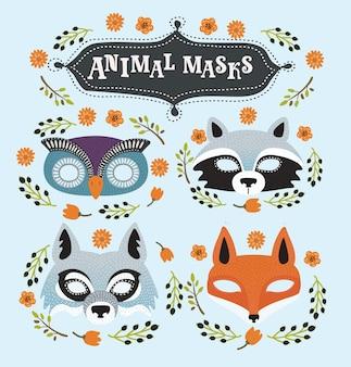 Conjunto de máscaras de festa de animais de desenho animado