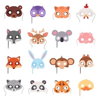 Conjunto de máscaras de festa de animais dos desenhos animados.