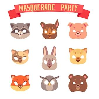 Conjunto de máscaras de festa de animais