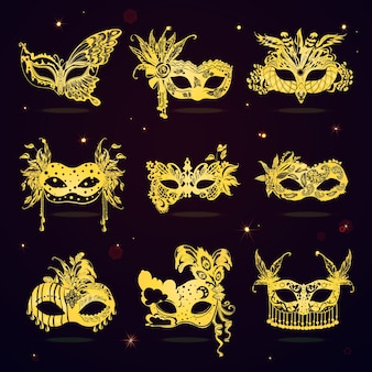 Conjunto de máscaras de festa golden lace masquerade